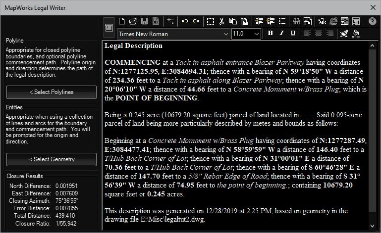 Legal Description Writer for AutoCAD, BricsCAD, and