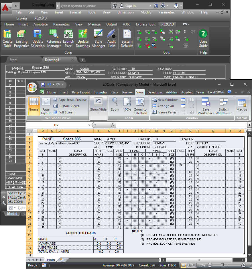 AutoCAD, BricsCAD and IntelliCAD Excel Import/Export